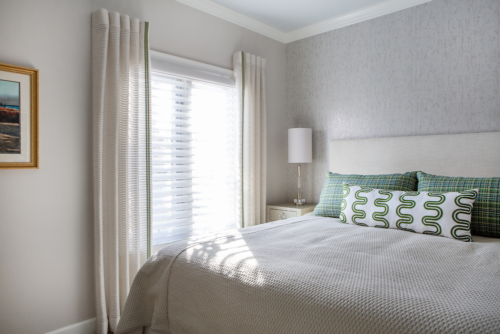 Bedroom With Custom Pillows And Drapery