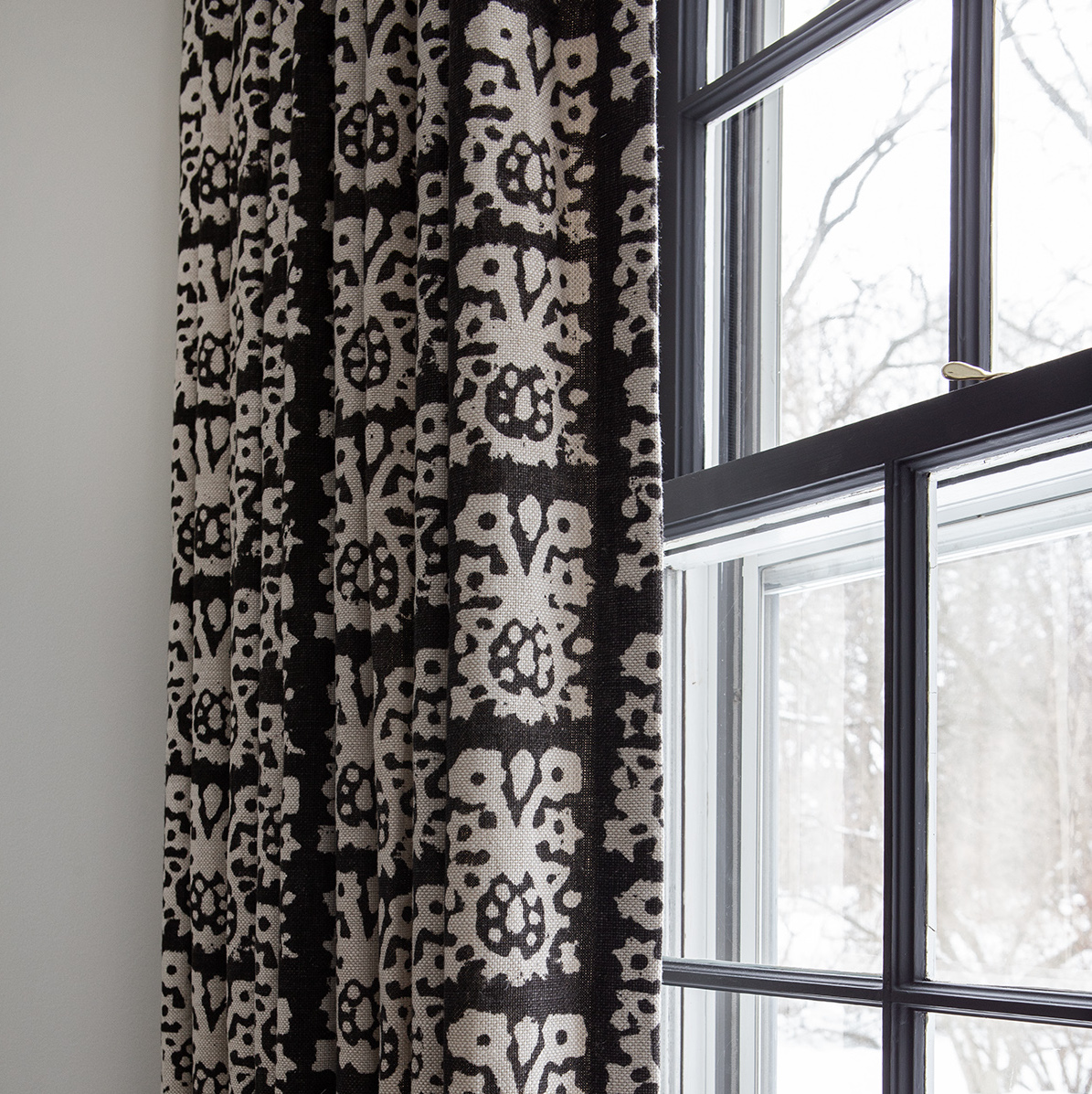 Close Up Of Patterned Window Treatment