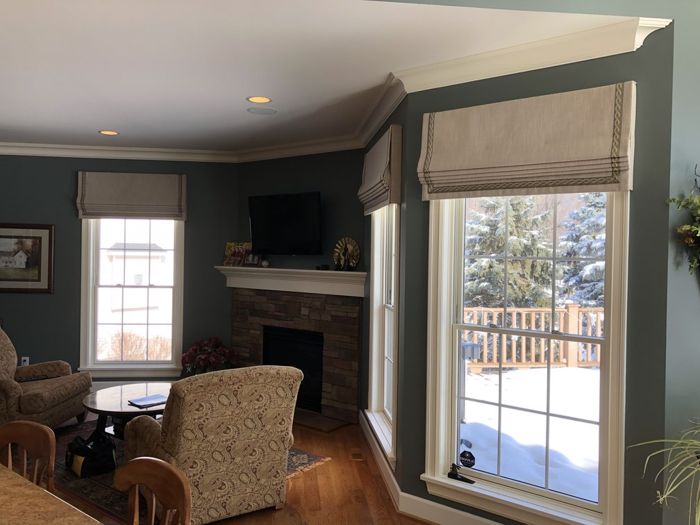 Faux Roman Shade With Insert Trim