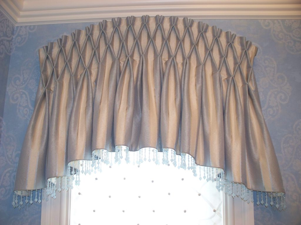 Hand smocked arched valance