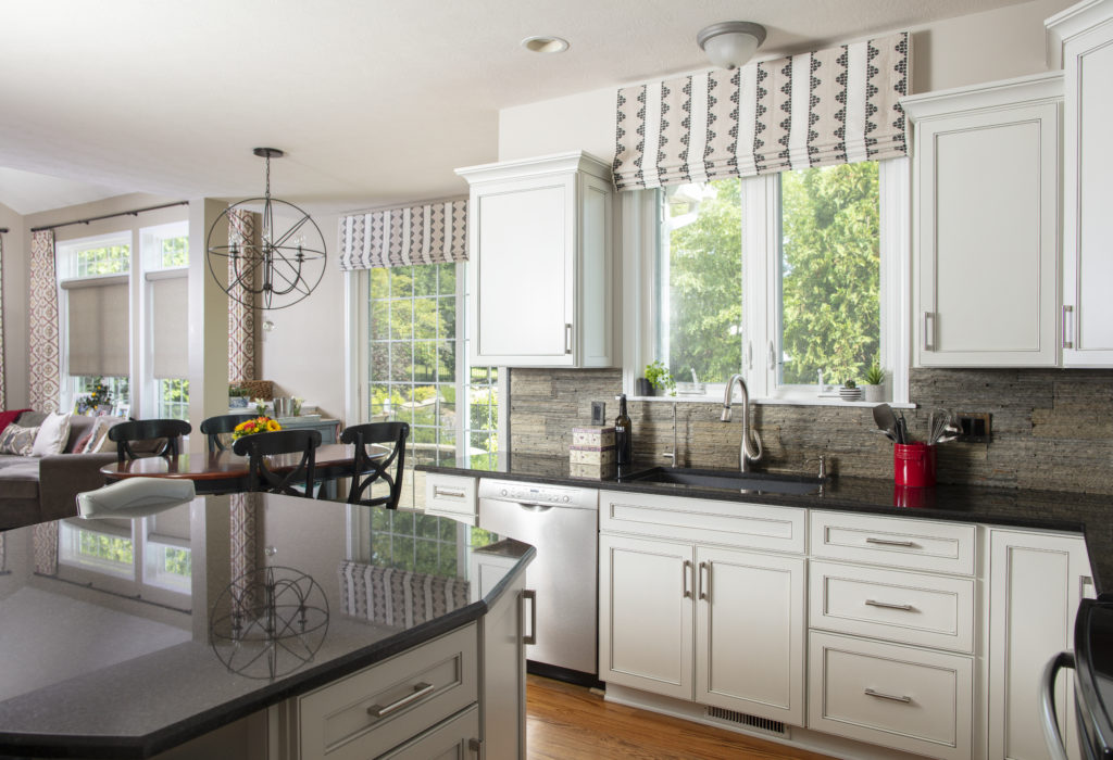 Kitchen with custom roman shades decor updates for the holidays