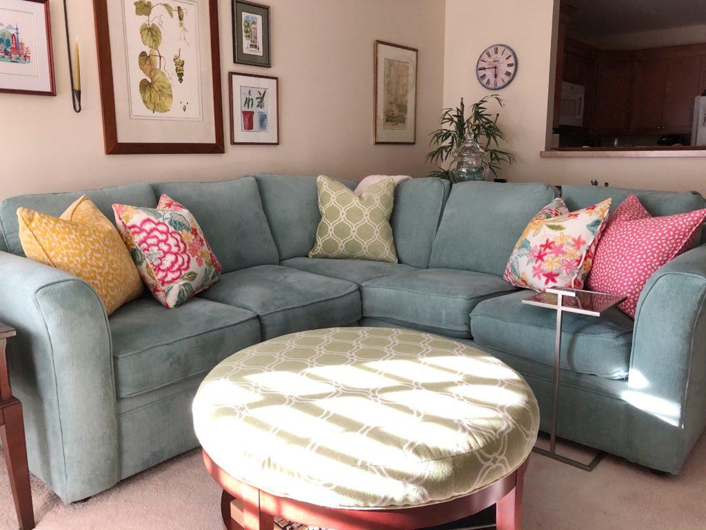 Custom Pillows on a couch